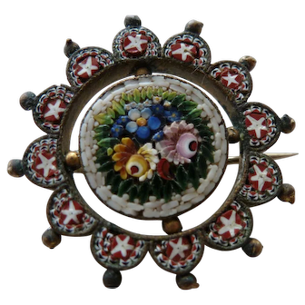 Turn of the century Micro Mosaic Pin Brooch