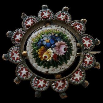 Turn of the century Micro Mosaic Pin Brooch