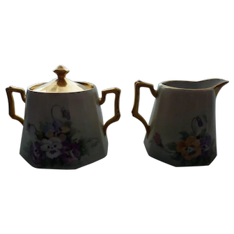 Hand Painted Pansy Germany Gold Trim Sugar and Creamer