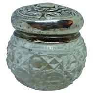 Birmingham 1899 Sterling Top Crystal Bottom Rouge Pot