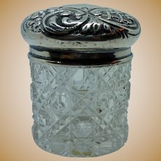 Sterling Top Cut Crystal Bottom Rouge Pot 1898