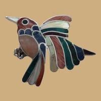 Multi Stone Inlay Sterling 950 Bird in Flight Pin Brooch