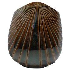 ROSENTHAL Studio Line Max Fussi Brown Glaze Stoneware Fan Vase