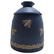 Blue Jasperware Wedgwood Honey Pot