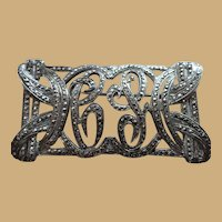 Sterling  1920's Marcasite Rectangle Fancy Script Initial Pin Brooch