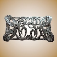 Sterling  1920's Marcasite Rectangle Fancy Script Initial Pin Brooch