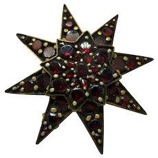 Bohemian Garnet Victorian Gold Gilt Star Brooch Pin