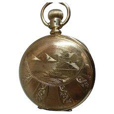 ELGIN 1889 Gold Filled Hunter Case Pocket Watch  Elk