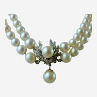 Cultured Pearl Double Strand Graduated 14K WG Diamond Front Clasp Necklace