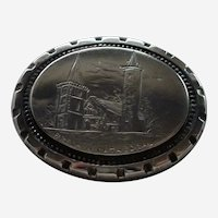STERLING MOURNING REMEMBRANCE Brechin Cathedral Scotland Locket Pin Brooch
