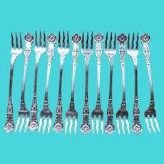 12 Sterling GORHAM Wavy Tine KING GEORGE Seafood Forks