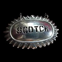 Sterling Silver Cut Out Scotch Liquor Decanter Hang Tag