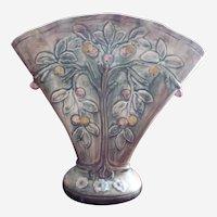 Early 1900's WELLER Fruit Tree Fan Shape Voile Vase