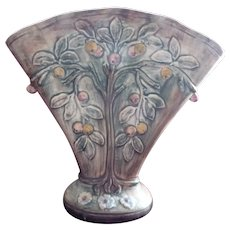 Early 1900's WELLER Fruit Tree Fan Shape Voile Vase