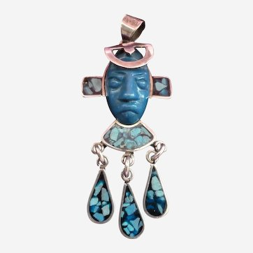 Mexico STERLING Turquois Aztec Mayan Face Pin Brooch
