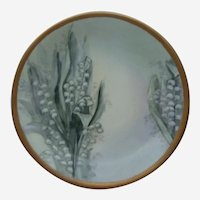 Elite Limoge France Lilly of the Valley Hand Painted Signed Cabinet Plate