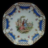 SCHWARZENHAMMER Bavaria Lattice Rim Courting Couple Octagonal  Cabinet Plate