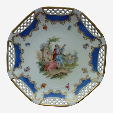 SCHWARZENHAMMER Bavaria Lattice Rim Courting Couple Octagonal  Cabinet Plate
