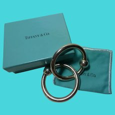 Sterling TIFFANY & CO Double Ring Teething Ring Rattle