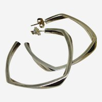 TIFFANY & CO Frank Gehry  STERLING Twisted Square Hoop Earrings