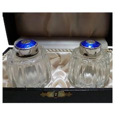 MEKA Denmark Sterling Blue Enamel Salt and Pepper in Case