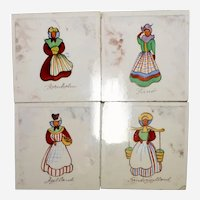 "DENMARK Hand Painted Tiles  Coasters Set of 4  3"" x 3""  Dutch Girls"
