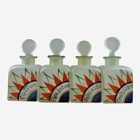 ART DECO Czechoslovakian Hand Painted Glass Vanity Jars Bottles Set