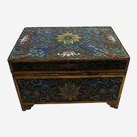 "Champleve Lotus Flower Footed Hinged Box 3 1/4"" x 4 1/2"" x 3"""