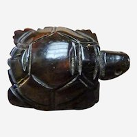 Cherry Amber Sterling Carved Turtle Pendant Charm