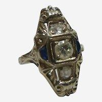 18K WG Sapphire and Diamond Art Deco Ring  Size 4