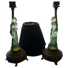 Pair of Art Deco Green Glass Woman Boudoir Lamps