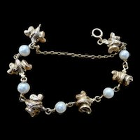 14K Gold and Pearl Scroll Link Heavy Vintage Bracelet 24 gr