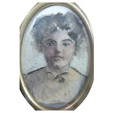 Watercolor Self-Portrait 1933 Signed By Artist May Ames