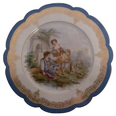 SEVRES  Chateau Des Tuilerries Louis Phillippe 1844 Courting Couple Cabinet Plate