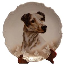 "German Victorian Terrier Dog 9"" Cabinet Portrait Plate"