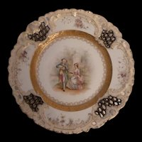 """Lattice Cutout Courting Couple Germany 9"""" Cabinet Plate"""