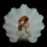 Unusual KTK Lotus Ware Knowles Taylor Shell Dish Woman's Portrait