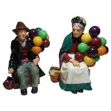 ROYAL  DOULTON The Balloon Man and The Old Balloon Seller Figures