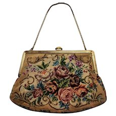 Needlepoint Purse Bag With Floral Glass Clasp Gold Frame Hungary