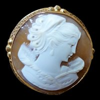 14K YG Edwardian Round Shell Cameo Pin Brooch Pendant Signed