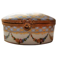 Petit Main LIMOGE Oval Trinket Box Blue and Gold