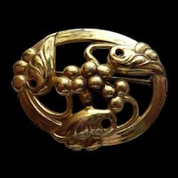Sterling CORO Gold Oval Floral Pin Brooch