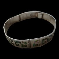 Mid-Century Sterling Abalone Mexico Hinged Bracelet