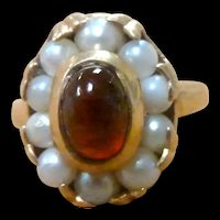 14K Victorian Cabochon Garnet and Cultured Pearl Ring Size 4