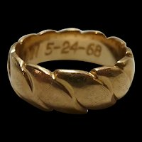 14K Vintage Thick Ribbed Solid Band Ring Size 4 1/2 4.8g