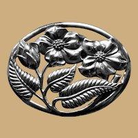 Sterling DANECRAFT  Oval Flower Pin Brooch