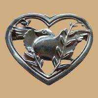 CORO Sterling Birds in a Heart Pin Brooch