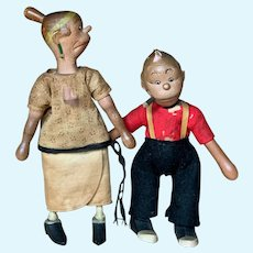 """Schoenhut Wooden Figures of """" Maggie and Jiggs"""""""