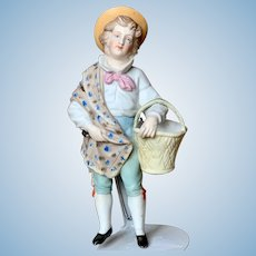 "Unusual German Bisque "" Wall Pocket "" Figure"