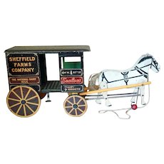 Nice Wooden Pull Toy Milk Wagon with Horse